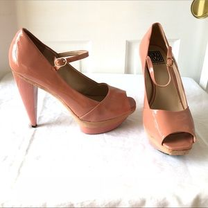 Pour LaVictoire Pink Patent Leather Platform Heels
